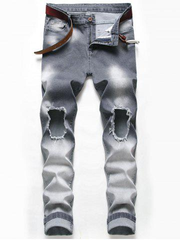 Distressed Ripped Faded Wash Jeans - CARBON GRAY - 38
