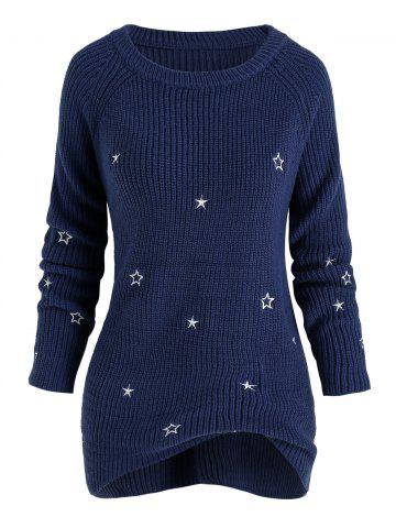 Plus Size Star Embroidery Raglan Sleeve Tunic Sweater - BLUE - 2X