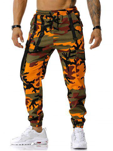 Pantalon Cargo à Bretelle Camouflage Imprimé à Cordon - ORANGE - XL