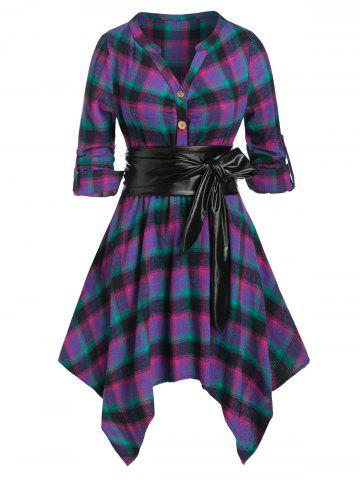 Plus Size Plaid Hanky Hem V Notch Roll Tab Sleeve Dress - PURPLE - 4X