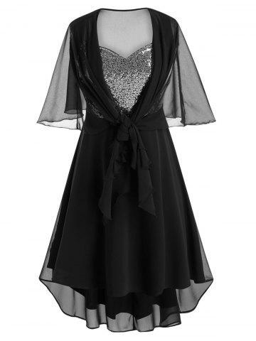 Plus Size Asymmetric Sequin Party Dress With Mesh Capelet