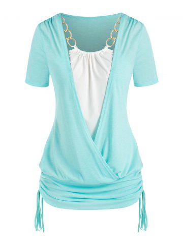 Plus Size Chains Surplice Cinched Ruched Tie Bicolor Tee - LIGHT AQUAMARINE - 2X