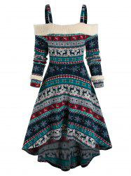 Cold Shoulder Tribal Print High Low Dress -