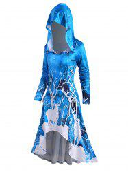 Hooded Christmas Elk Print Lace-up High Low Long Sleeve Dress -