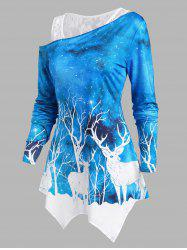 Lace Tank Top and Christmas Elk Print Long Sleeve Top -