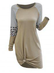 Stripes Leopard Panel Casual Tee Dress -
