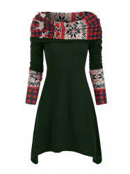 Elk Plaid Knitted Multiway Mini Dress -