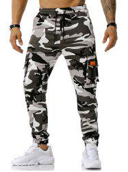 Text Applique Camouflage Print Cargo Pants -