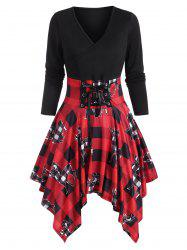 Christmas Lace Up Elk Plaid Print Handkerchief Dress -