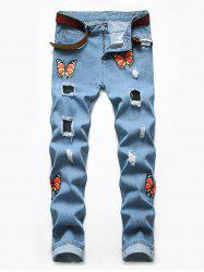 Destroy Wash Butterfly Print Jeans -