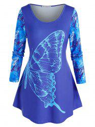 Plus Size Butterfly Printed Round Hem Tunic Tee -