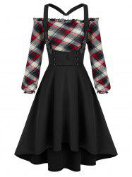Off The Shoulder Plaid Top and High Low Buckles Suspender Skirt Set -