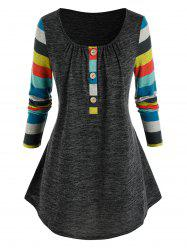 Plus Size Striped Sleeve Henley T Shirt -