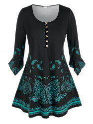 Plus Size Paisley Half Placket Hanky Poet Sleeve Tunic Tee -