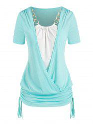 Plus Size Chains Surplice Cinched Ruched Tie Bicolor Tee -