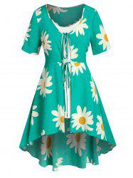 Plus Size Flower Tied A Line Blouse with Cami Top Set -
