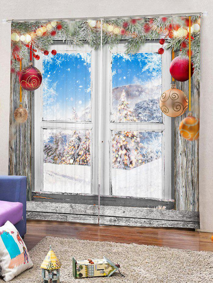 Affordable 2 Panels Window Snow Christmas Print Window Curtains