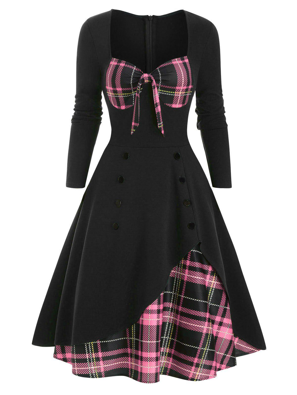 Sale Plaid Button Embellished Bowknot Sweetheart Dress