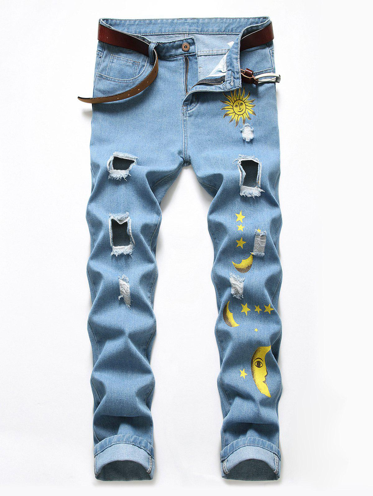 Discount Cartoon Sun Moon And Star Print Destroy Wash Jeans