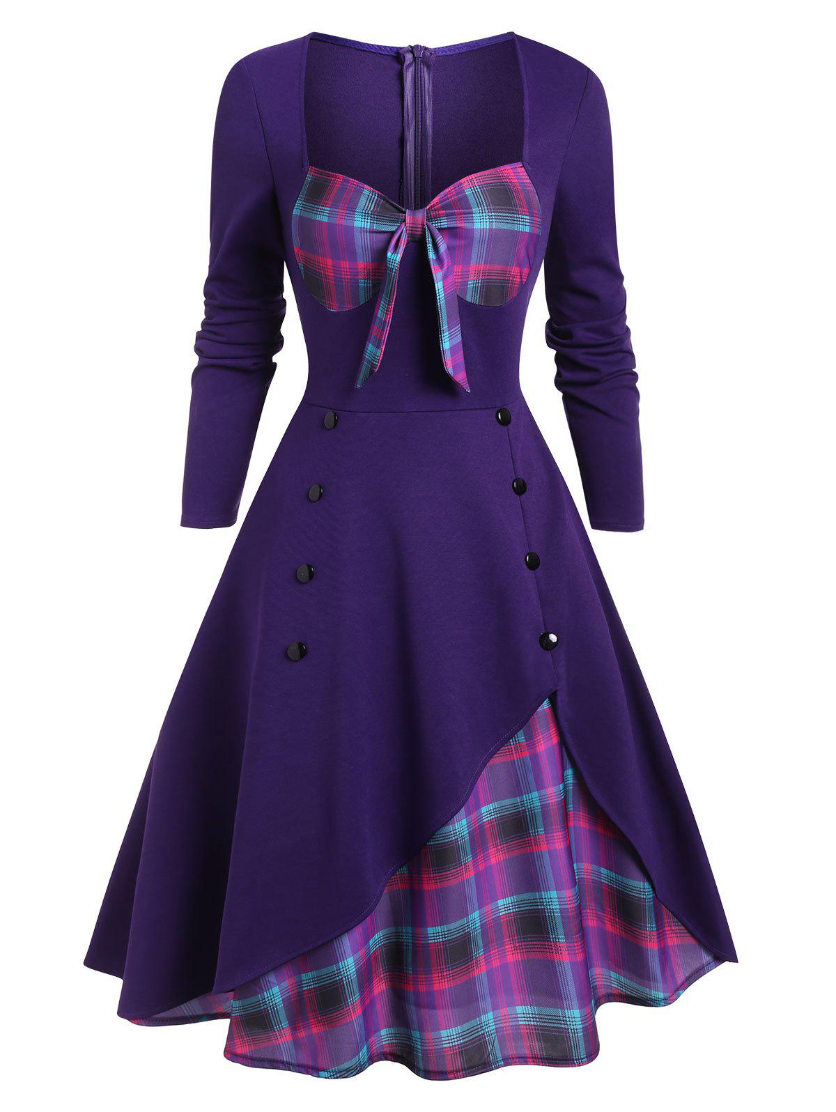 Hot Plaid Button Embellished Bowknot Sweetheart Dress