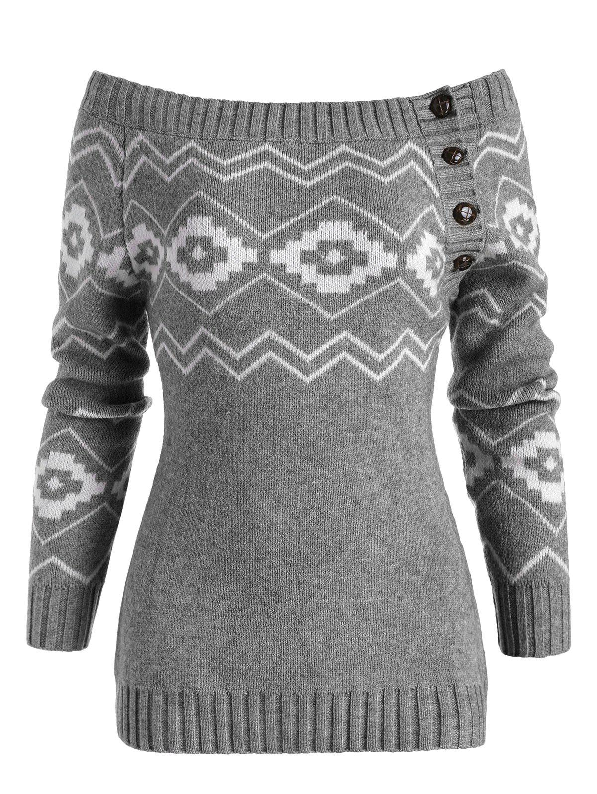 Discount Button Side Off Shoulder Zig Zag Geometric Sweater