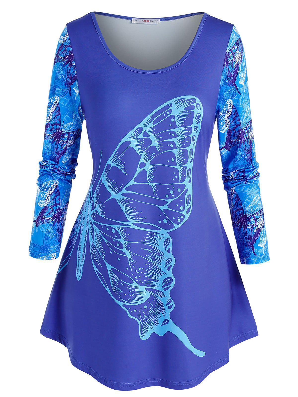 Outfits Plus Size Butterfly Printed Round Hem Tunic Tee