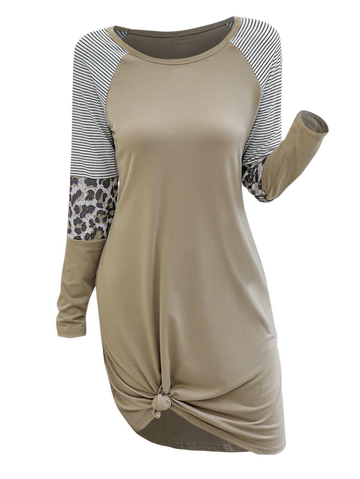 Affordable Stripes Leopard Panel Casual Tee Dress