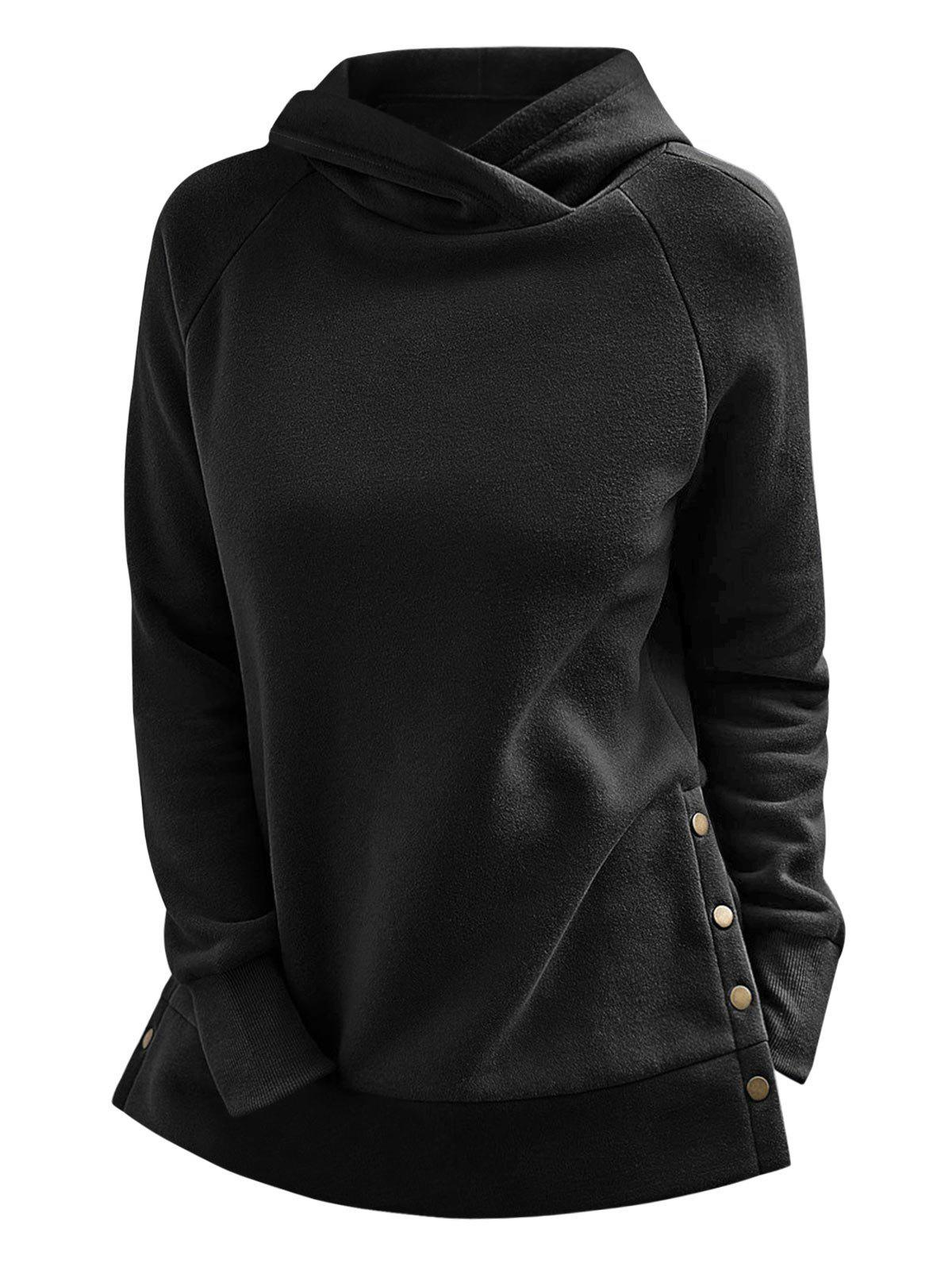 Hot Snap Button Side Raglan Sleeve Hoodie