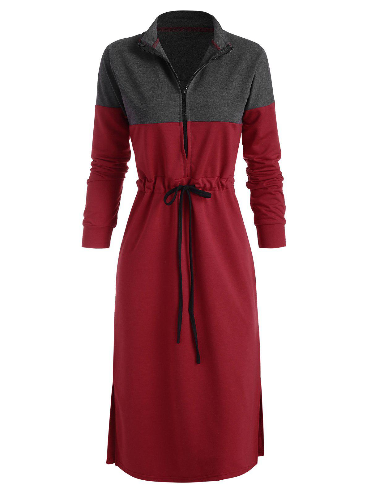 Robe Zippée Fendue Bicolore à Cordon Rouge S