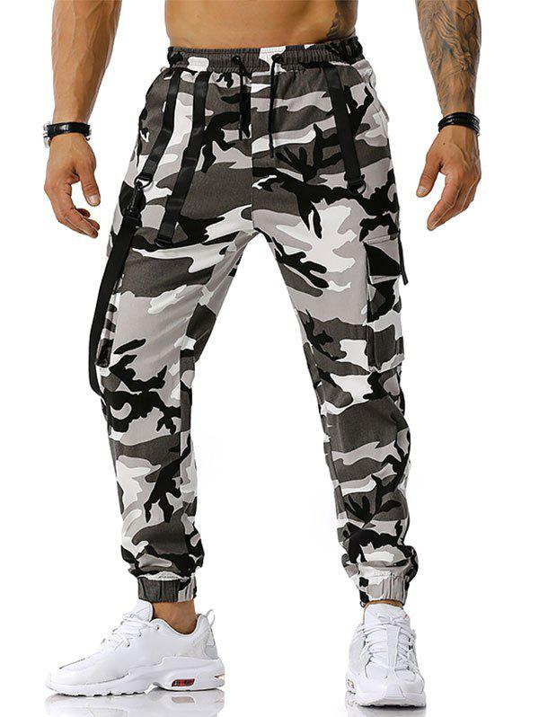Affordable Drawstring Camouflage Print Strap Cargo Pants