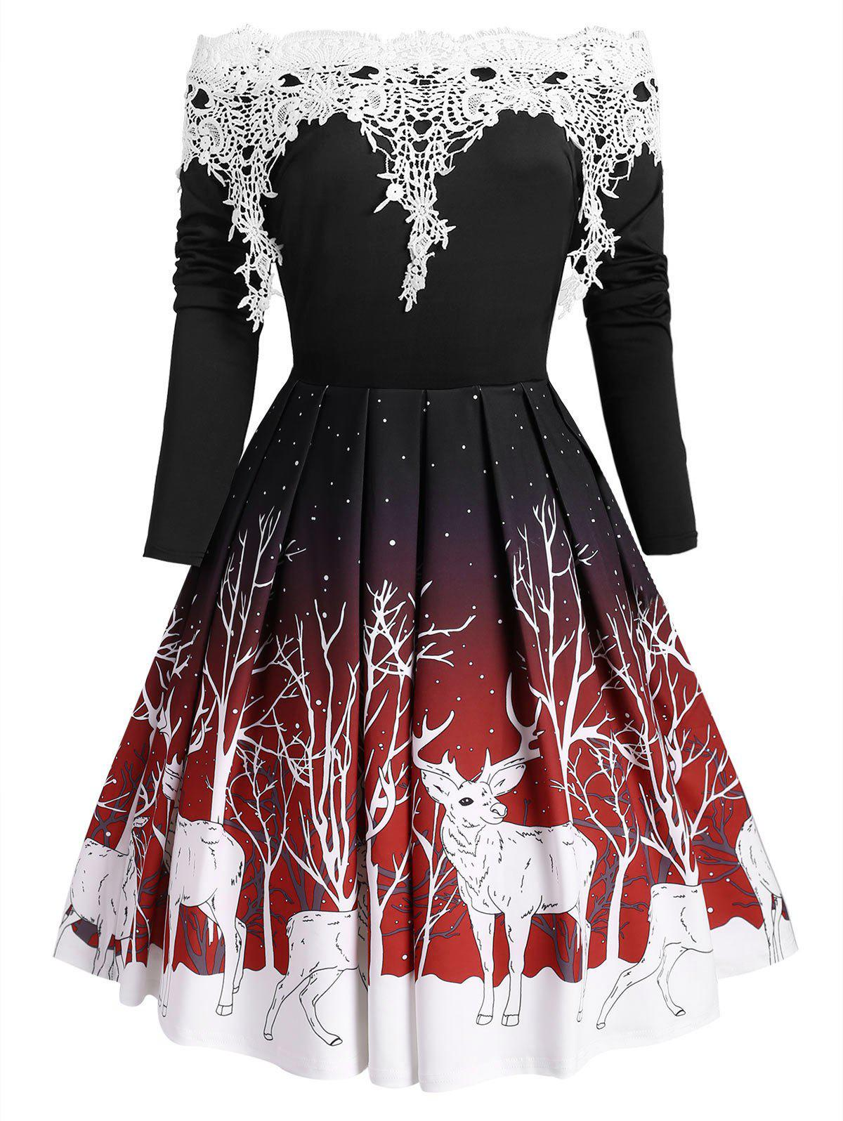 Buy Christmas Applique Panel Elk Branch Print Long Sleeve Dress