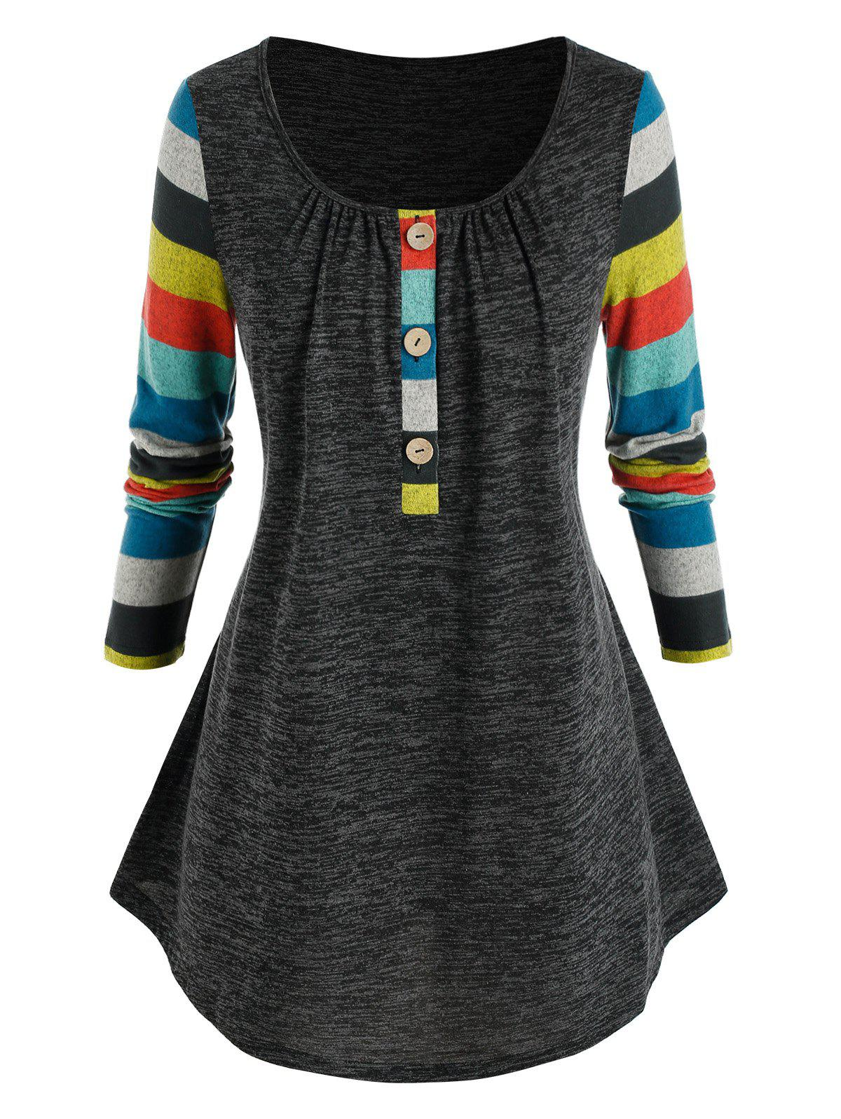 Fancy Plus Size Striped Sleeve Henley T Shirt