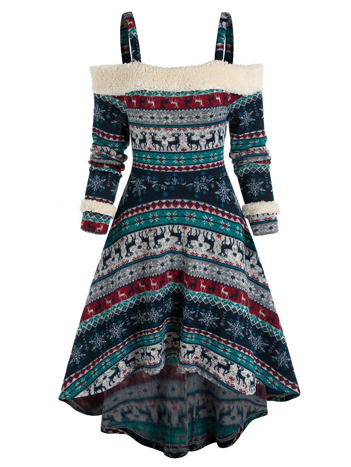 Buy Cold Shoulder Tribal Print High Low Dress