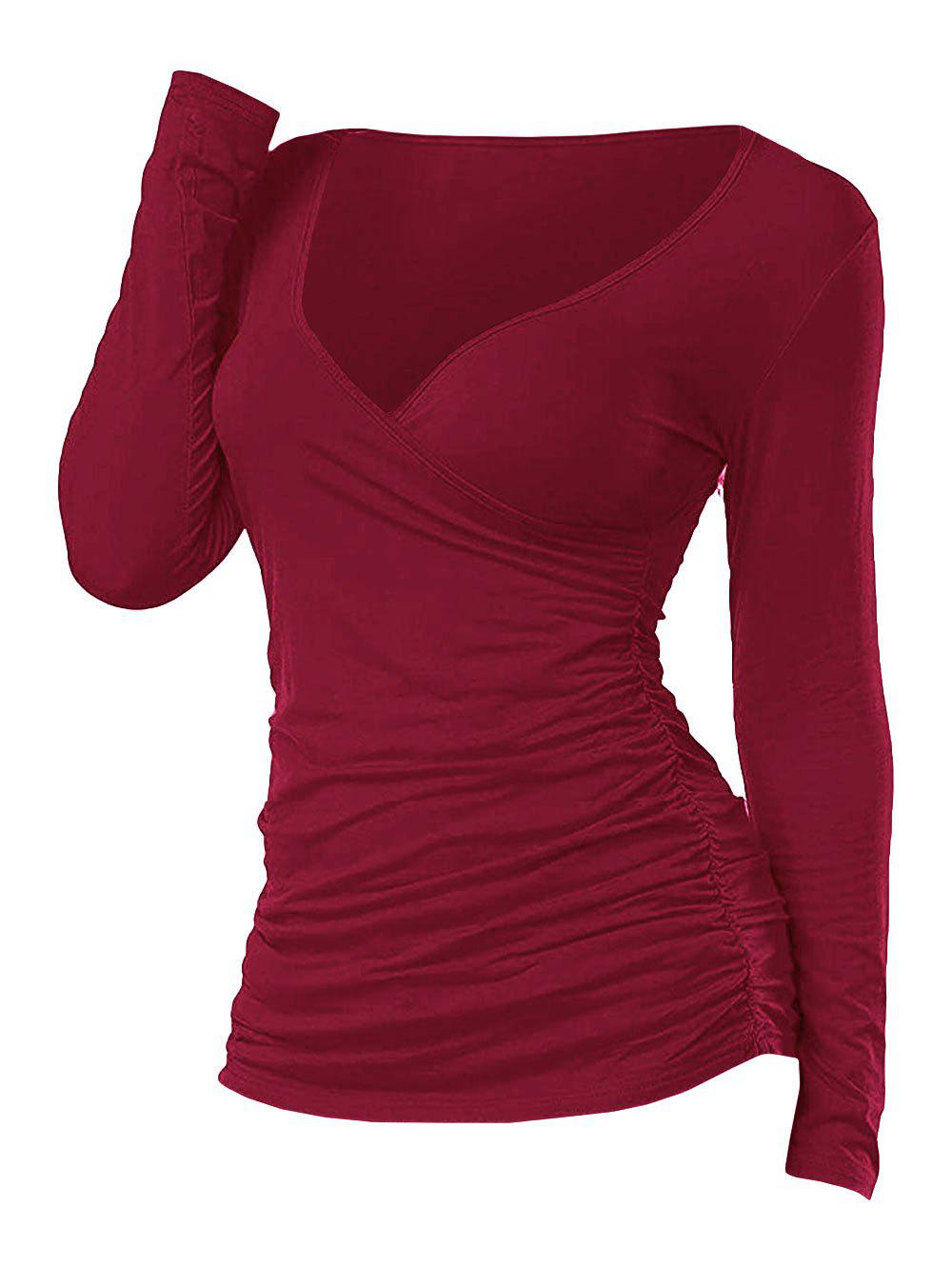 Unique Ruched Plunging Long Sleeve T Shirt