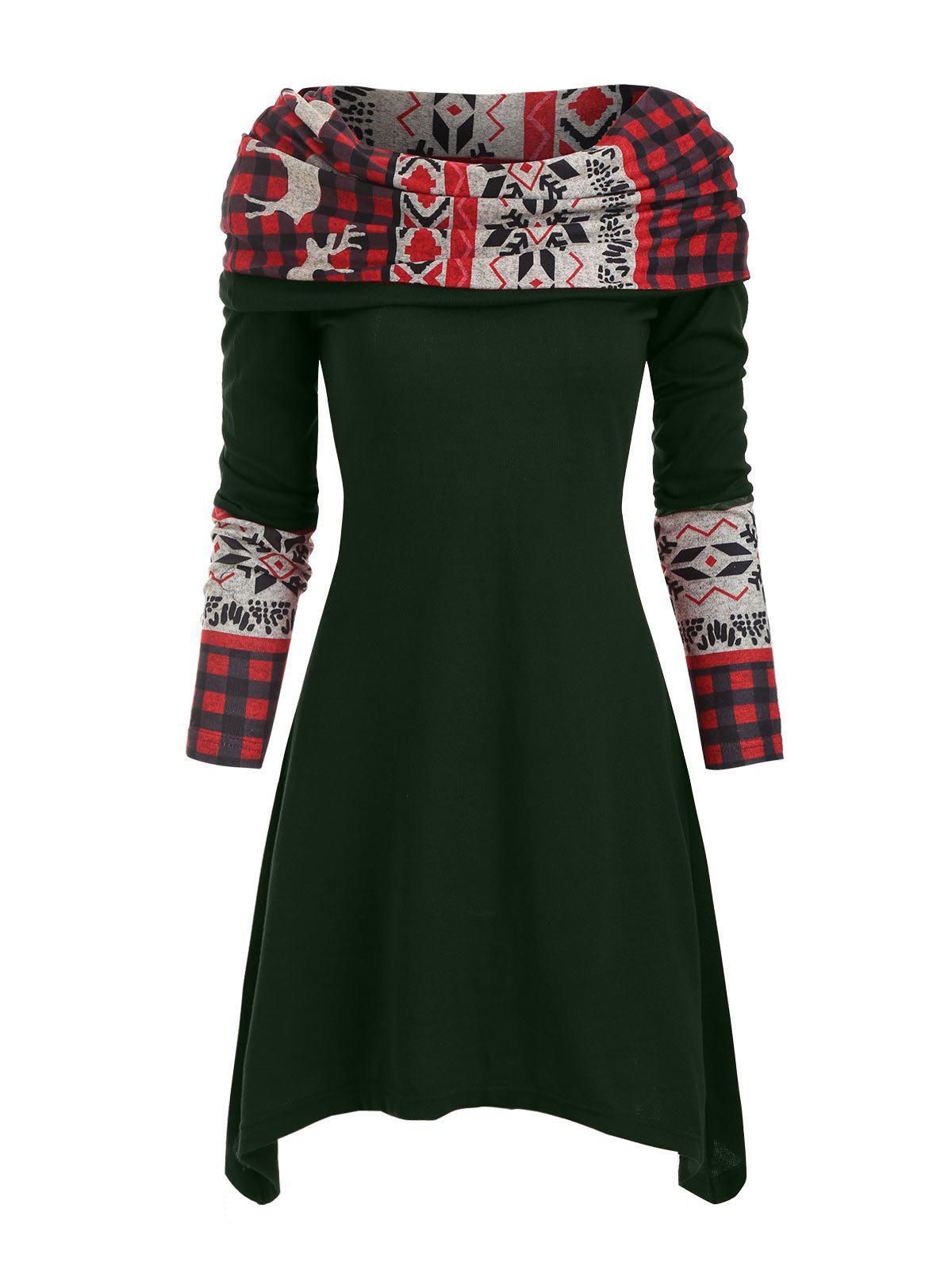 Trendy Elk Plaid Knitted Multiway Mini Dress