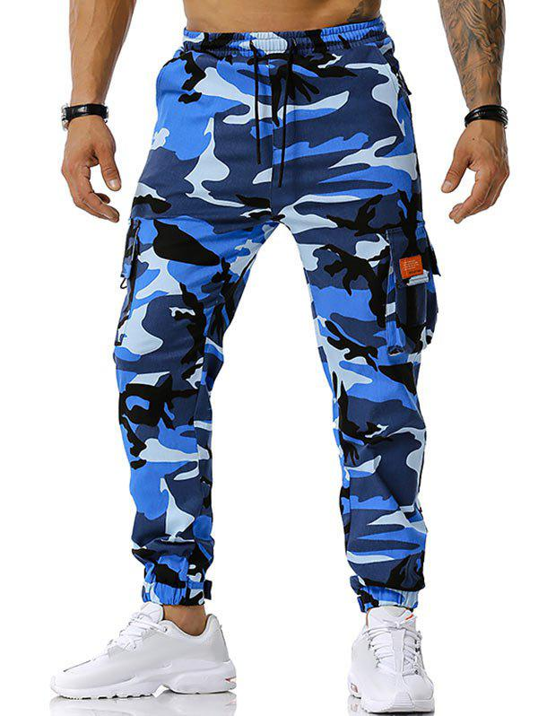 Affordable Text Applique Camouflage Print Cargo Pants