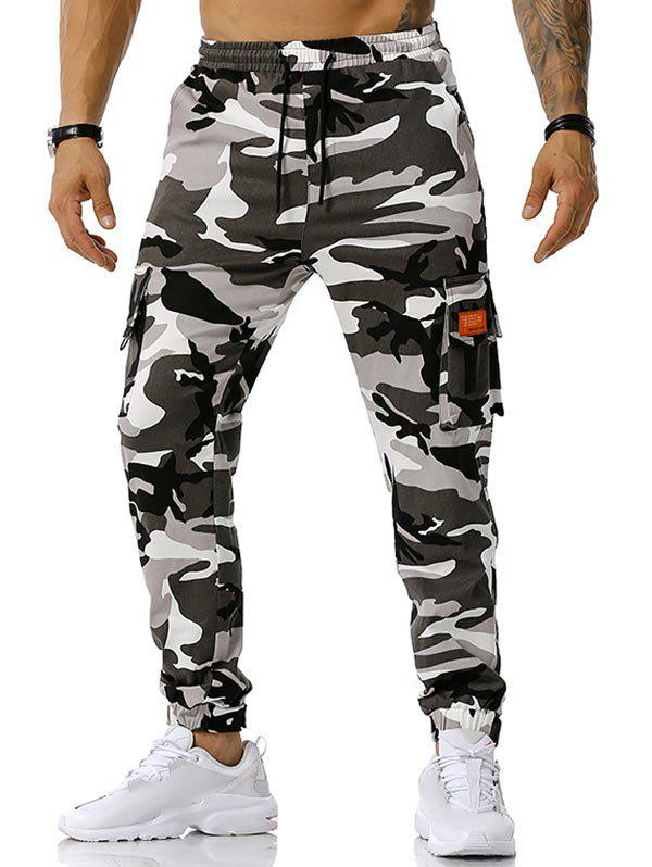 Outfits Text Applique Camouflage Print Cargo Pants