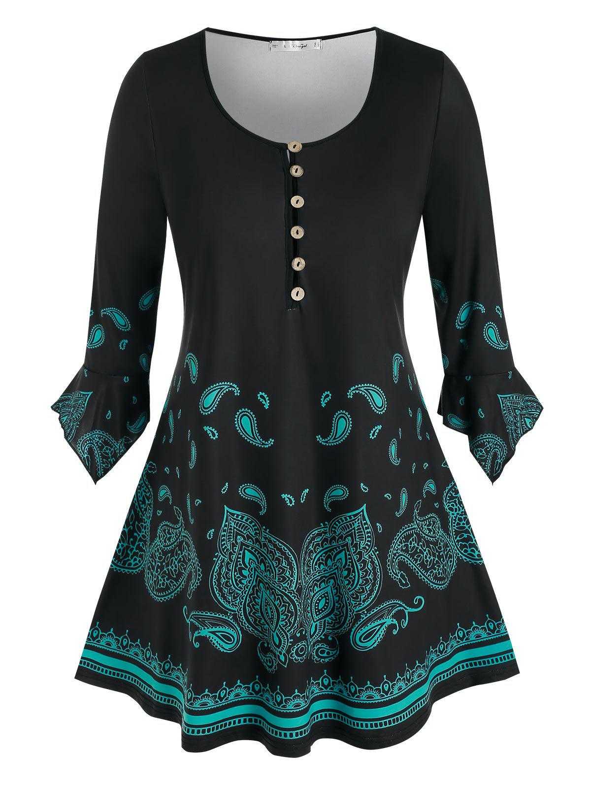 Best Plus Size Paisley Half Placket Hanky Poet Sleeve Tunic Tee