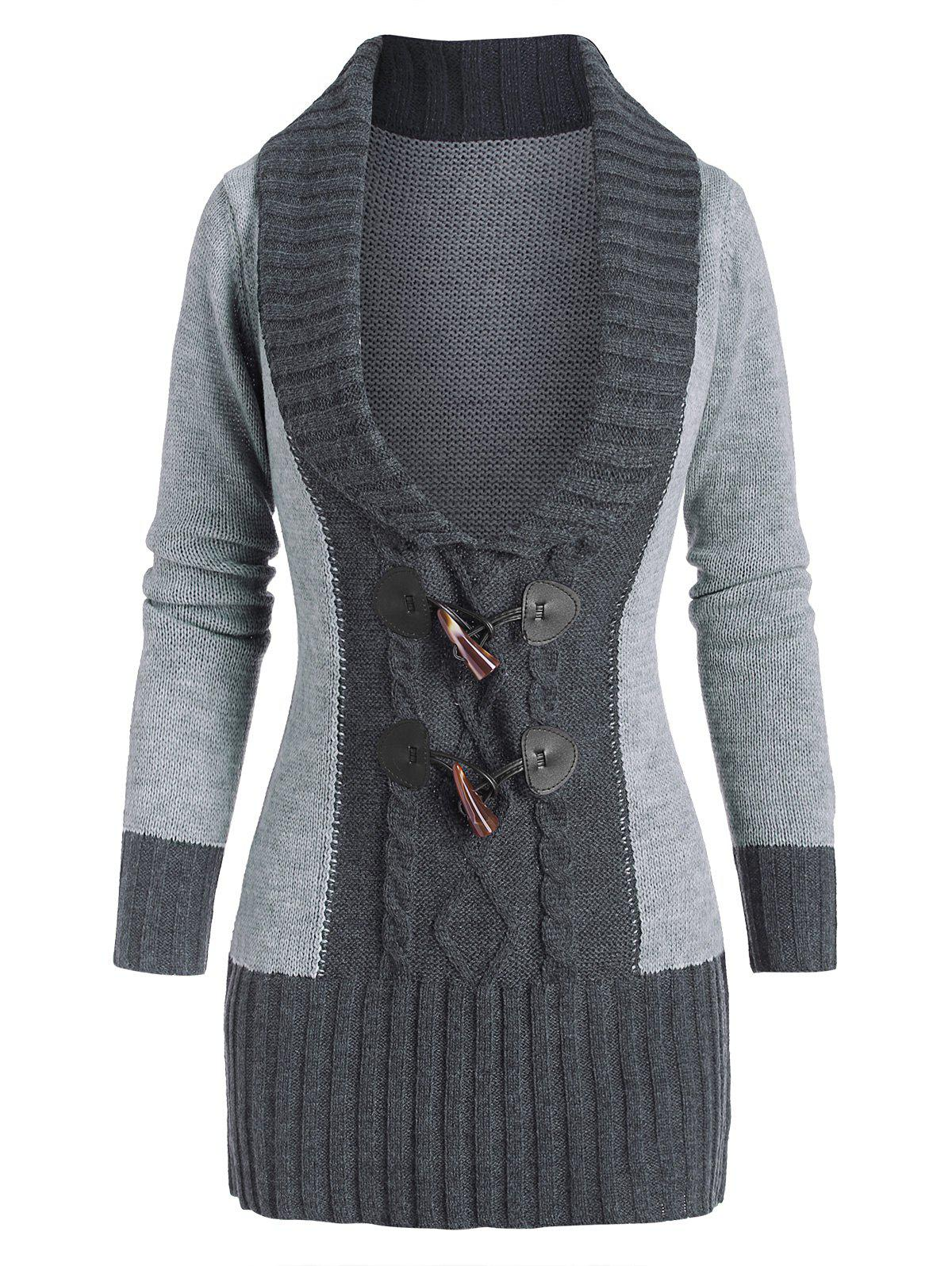 Affordable Horn Button Colorblock Plunging Sweater