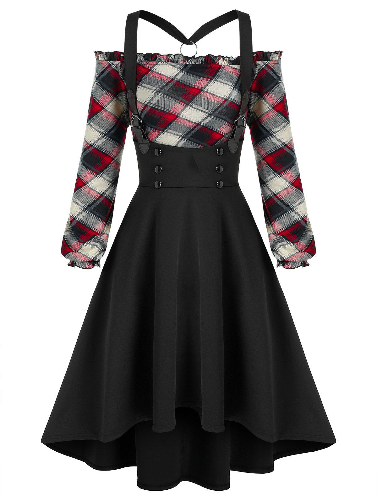 Best Off The Shoulder Plaid Top and High Low Buckles Suspender Skirt Set