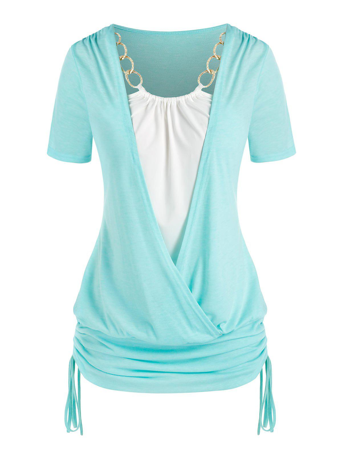 Chic Plus Size Chains Surplice Cinched Ruched Tie Bicolor Tee