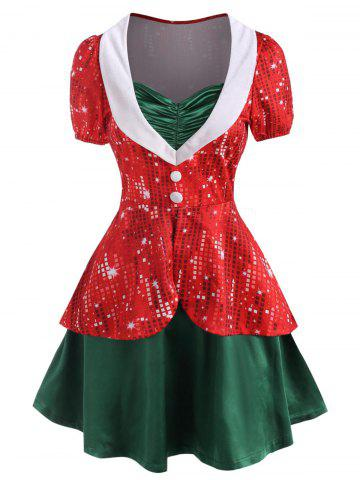 Christmas 3D Rhinestone Print Ruched Button Embellished Twofer Dress - RED - XXL