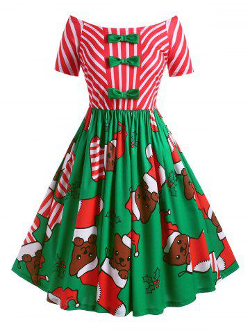 Plus Size Bowknot Off The Shoulder Christmas Print Dress