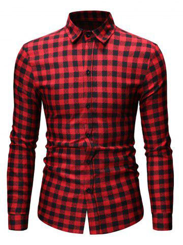 Button Up Plaid Printed Casual Shirt - RED - XL