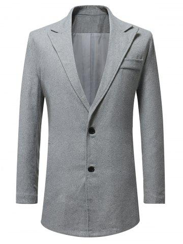 Lapel Button Up Faux Pocket Wool Blend Coat - LIGHT GRAY - 3XL