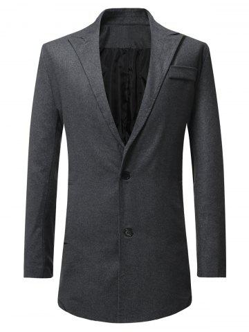 Lapel Button Up Faux Pocket Wool Blend Coat - DARK GRAY - 3XL
