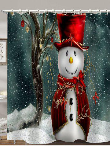 Christmas Snowman Tree Printed Waterproof Bathroom Shower Curtain - MULTI - W71 X L71 INCH