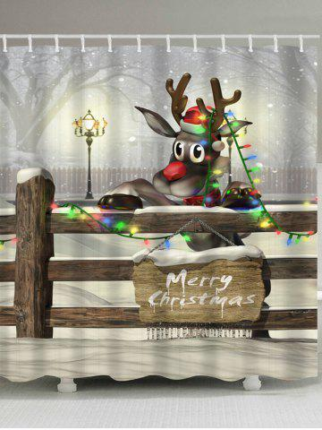 Christmas Cartoon Elk Printed Waterproof Shower Curtain