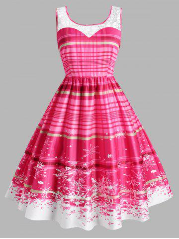 Plus Size Plaid Snowflake Lace Insert Dress - LIGHT PINK - 1X