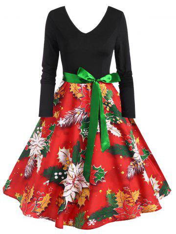 Vintage Belted Floral Print Fit and Flare Dress - RED - XXXL